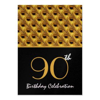"""90.o El pavo real del oro del cumpleaños empluma Invitación 5"""" X 7"""""""