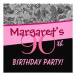 90.o El vintage del rosa de la fiesta de cumpleaño Invitación
