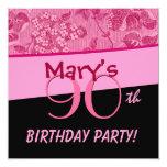 90.o El vintage rosado del cumpleaños florece la Invitación Personalizada