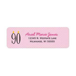 90.o Etiquetas del remite del rosa de la vela del Etiqueta De Remite