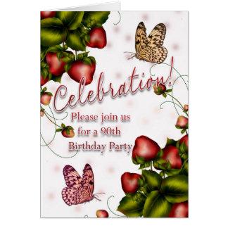 90.o Fiesta de cumpleaños - mariposa y fresa Inv Tarjeta De Felicitación