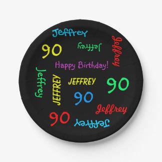 90.o Fiesta de cumpleaños, repitiendo nombres, Platos De Papel