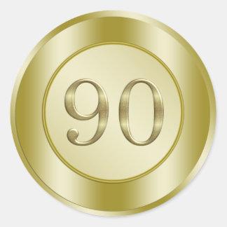 90 o Fiesta de cumpleaños Pegatinas Redondas