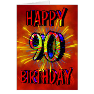 90.o Fuegos artificiales del cumpleaños Tarjeta De Felicitación