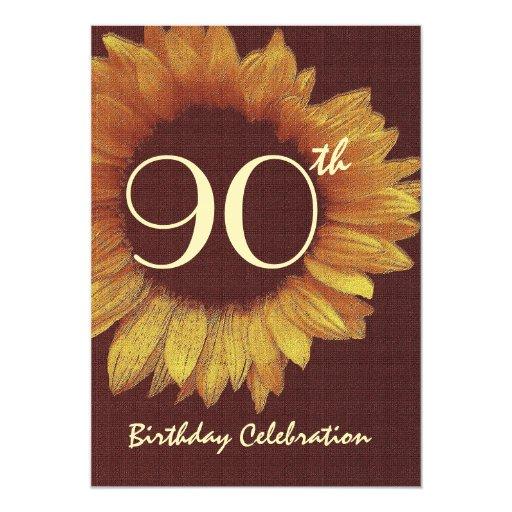 90.o Girasol del oro de la invitación de la fiesta