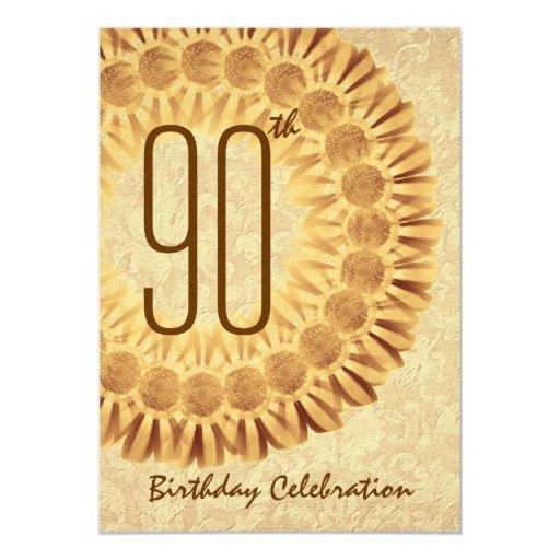 """90.o Guirnalda del oro de la fiesta de cumpleaños Invitación 5"""" X 7"""""""