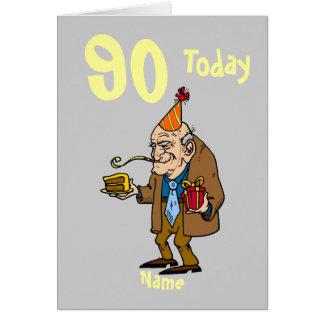 90.o hoy dibujo animado del cumpleaños 90 tarjeta de felicitación