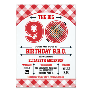 90.o Invitación de la barbacoa del cumpleaños