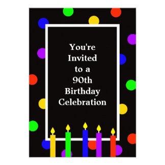 90 o Invitación de la fiesta de cumpleaños --