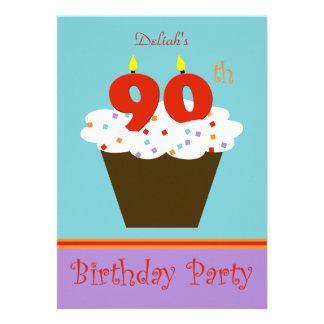 90 o Invitación de la fiesta de cumpleaños -- 90 v