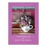 90.o Invitación de la fiesta de cumpleaños, flores Invitación 12,7 X 17,8 Cm