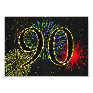 """90.o invitate de la fiesta de cumpleaños invitación 5"""" x 7"""""""