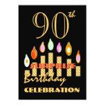 90.o Las velas del oro de la fiesta de cumpleaños Invitaciones Personales