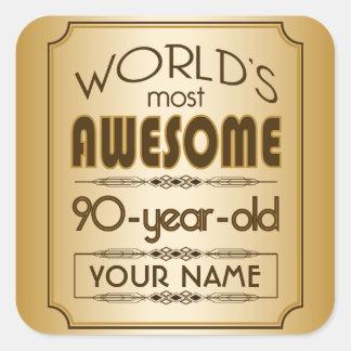 90.o mundo de la celebración del cumpleaños del pegatina cuadrada