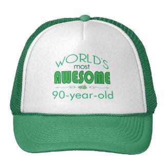 90 o Mundo de la celebración del cumpleaños mejor Gorros