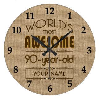 90.o Mundo de la celebración del cumpleaños mejor Reloj Redondo Grande