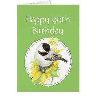 90.o pájaro del girasol del Chickadee del cumpleañ Tarjeta De Felicitación