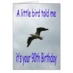90.o pájaro feliz de la gaviota del vuelo del tarjeta de felicitación