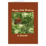90.o personalizado feliz de la mariposa de la felicitación