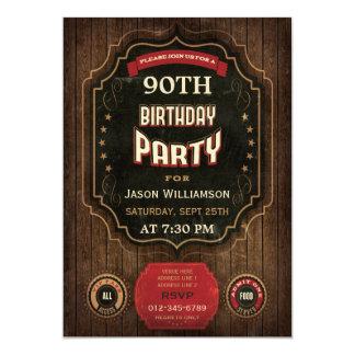 90.o Pizarra y madera del vintage del cumpleaños Invitación 12,7 X 17,8 Cm