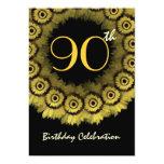 90.o Plantilla de la guirnalda del girasol del oro Invitación 12,7 X 17,8 Cm