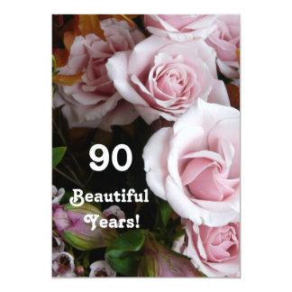 90.o Ramo subió rosa de la fiesta de cumpleaños Invitaciones Personalizada