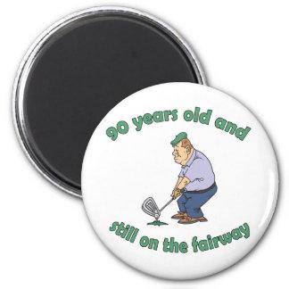 90.o Regalo de la mordaza del golfista del cumplea Imán Redondo 5 Cm