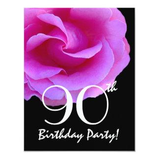 """90.o Rosa de la plantilla del cumpleaños subió Invitación 4.25"""" X 5.5"""""""