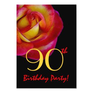 """90.o Rosa rojo y amarillo de la plantilla del Invitación 5"""" X 7"""""""