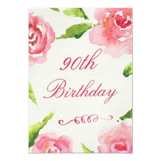 90.o Rosas elegantes de la acuarela del cumpleaños Invitación 12,7 X 17,8 Cm