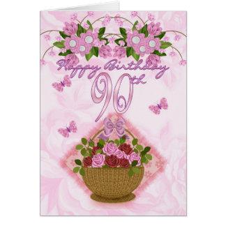 90.o Señora del cumpleaños, rosas y flores Tarjeta De Felicitación
