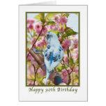 90.o Tarjeta de cumpleaños con el Parakeet azul