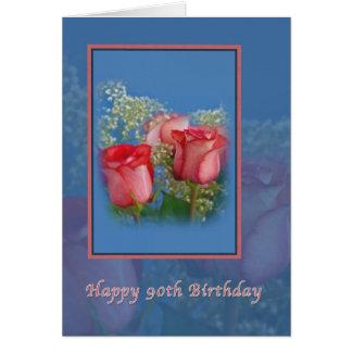 90.o Tarjeta de cumpleaños con los rosas rojos