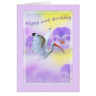 90.o Tarjeta de cumpleaños del pájaro y del pensam