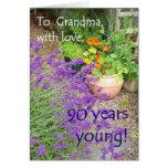 90.o Tarjeta de cumpleaños para la abuela - jardín
