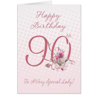 90.o Tarjeta de cumpleaños - rosas rosados - a A m