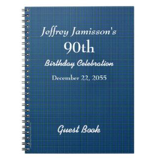 90.o Tela escocesa del azul del libro de visitas Libretas Espirales