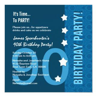 90.o Tonalidades modernas del cumpleaños de D90B Invitacion Personalizada
