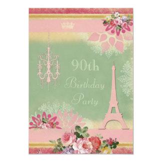 """90.o Torre Eiffel y lámpara rosadas del cumpleaños Invitación 5"""" X 7"""""""