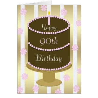 90.o Torta de la tarjeta de cumpleaños en rosa