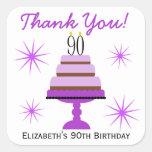 90.os pegatinas del favor del cumpleaños de la colcomanias cuadradas