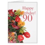 90 th birthday red yellow bouquet card