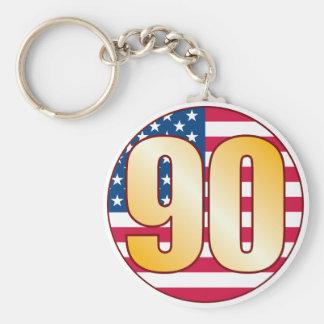 90 USA Gold Basic Round Button Keychain