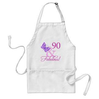 90 y regalos de cumpleaños fabulosos (ciruelo) delantal