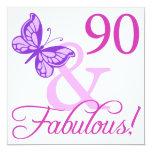 90 y regalos de cumpleaños fabulosos (ciruelo) invitación 13,3 cm x 13,3cm