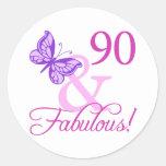 90 y regalos de cumpleaños fabulosos (ciruelo) pegatina