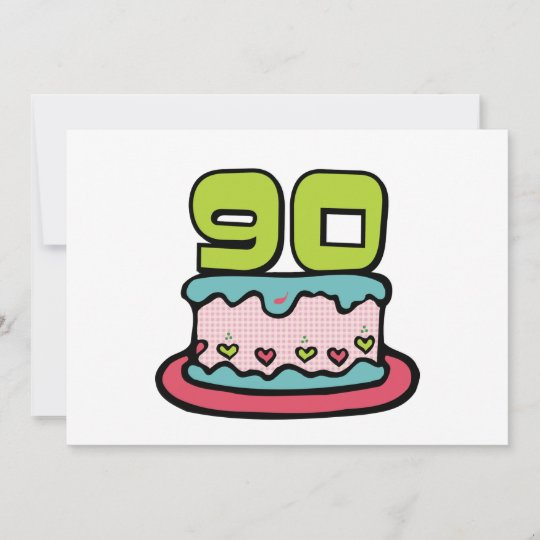 90 Year Old Birthday Cake Card