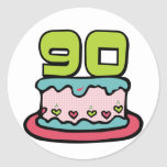 90 Year Old Birthday Cake Classic Round Sticker