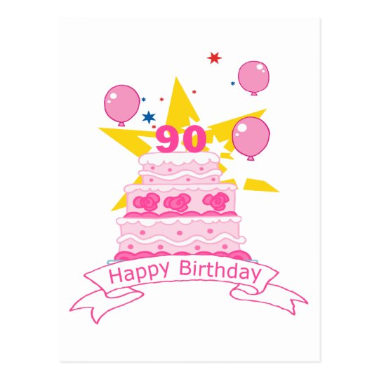 90 Year Old Birthday Cake Postcard