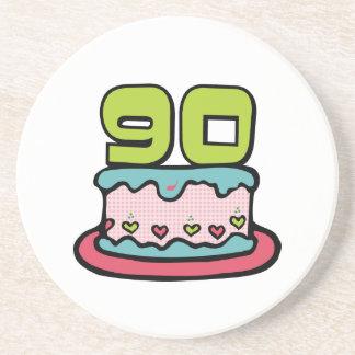 90 Year Old Birthday Cake Sandstone Coaster